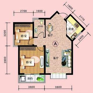中阳润庭89.9平2室2厅1卫户型