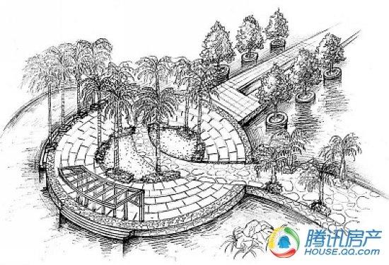 中式园林建筑设计手绘