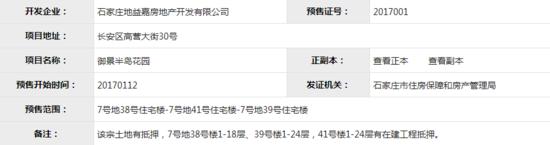 """石家庄获""""证能量""""8个预售证同发 含4大楼盘进展"""