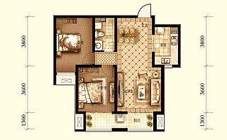 B户型 两室两厅一卫85.89平