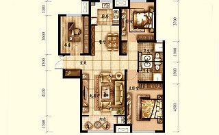 N户型 三室两厅两卫121.75平
