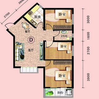中阳润庭102.1平3室2厅1卫D户型