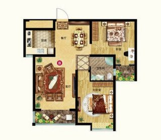 B户型 两室两厅一卫 91.04平