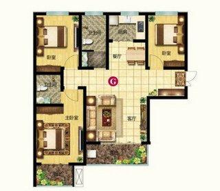 G户型 三室两厅两卫 120.53平
