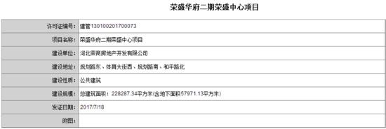 荣盛华府二期荣盛中心项目获建筑规划许可证