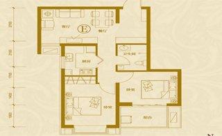 E户型两室两厅一卫 约74.93�O