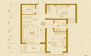 B户型 两室两厅一卫 约87.79�O