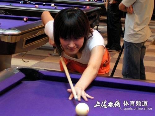 九球美女秀花式台球
