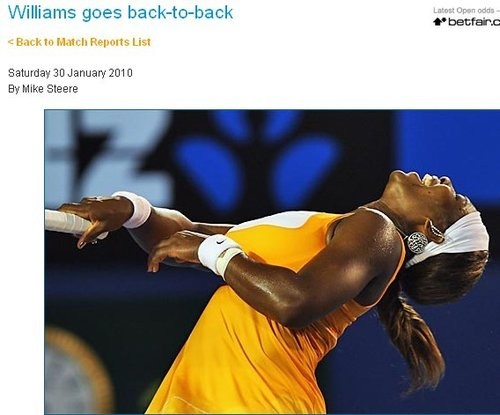澳网官方:小威大满贯决赛胜率惊人 夺冠有理