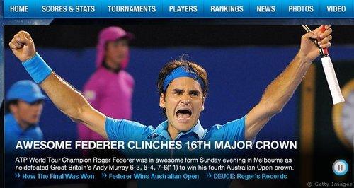 ATP官网:费德勒收澳网失地 决赛复制08美网