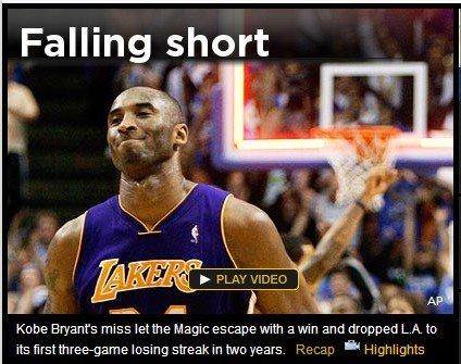 Yahoo:科比绝杀终失手 湖人两年首遭三连败