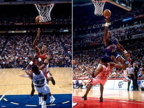 NBA老照片:皮蓬马龙上演模仿秀 看谁更霸道