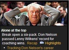 Yahoo:尼尔森超威尔肯斯 赢球数历史第一