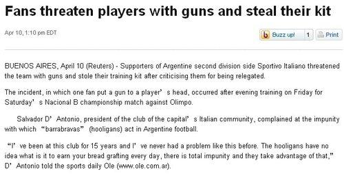 阿根廷足坛再现暴力事件 球迷持枪预爆球员头
