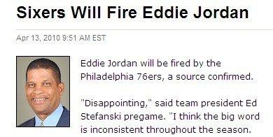 76人赛季失败高层不满 主帅艾迪乔丹或将离任
