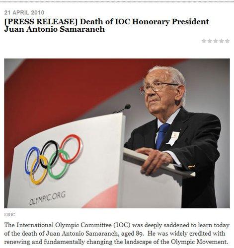 前国际奥委会主席萨马兰奇因心脏病去世