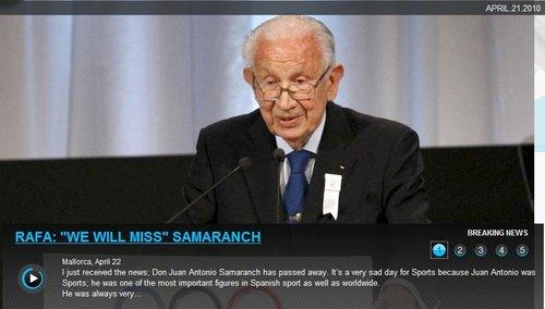 纳达尔沉痛悼念萨马兰奇:我们都会想念他