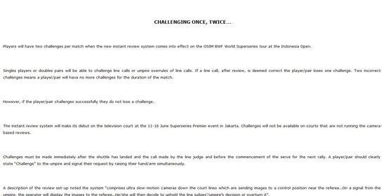 """羽联:印尼赛将启用""""挑战制"""" 慢镜回放可改判"""