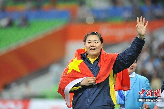 图文:张文秀夺得亚运女子链球金牌