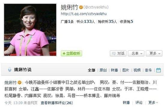 央视记者微博曝国羽抗日名单 汪鑫顶替王适娴
