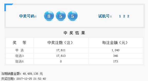 福彩3D第2017352期开奖公告:开奖号码855
