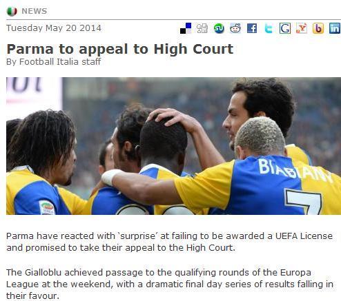仲裁失败!帕尔马或失欧战 将向高等法院上诉