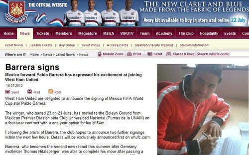 西汉姆官方签墨西哥国脚 世界杯曾戏耍海因策