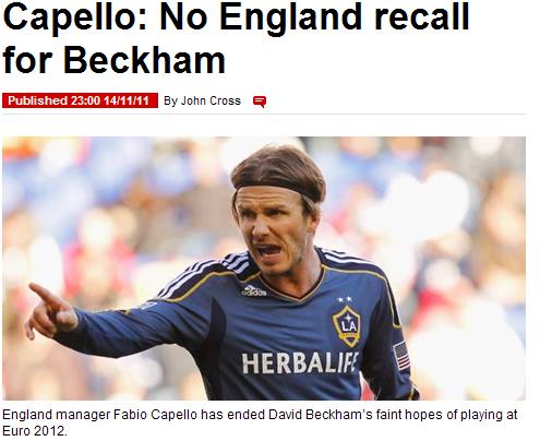 卡佩罗宣布小贝无缘欧锦赛 伦敦奥运或成绝唱