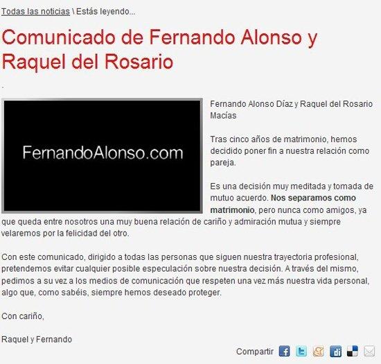 阿隆索官网发表声明确认离婚讯 西班牙车手阿隆索离婚了,当...