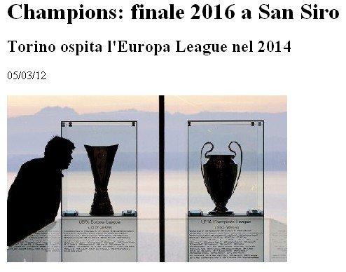欧联杯决赛与欧冠(微博 专题) 决赛将先后在意大利举行 腾
