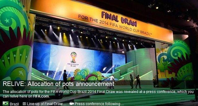 巴西世界杯抽签分档公布 欧洲9队齐聚第四档