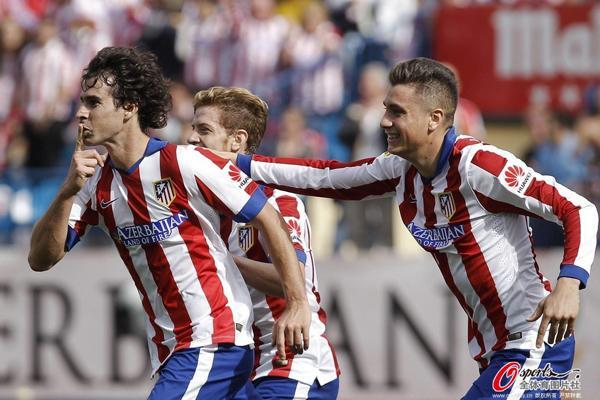 西甲-马竞2-0完胜西班牙人 双后腰分别建功