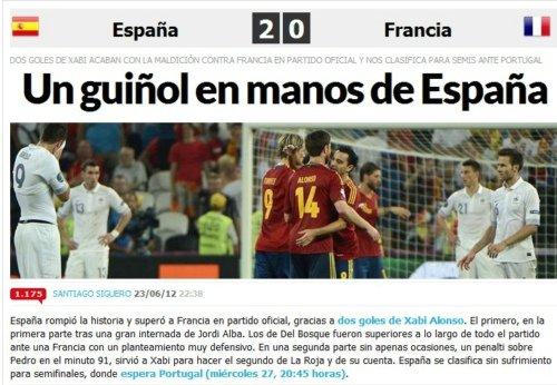 全球媒体热评西班牙晋级 世界已在斗牛士手中