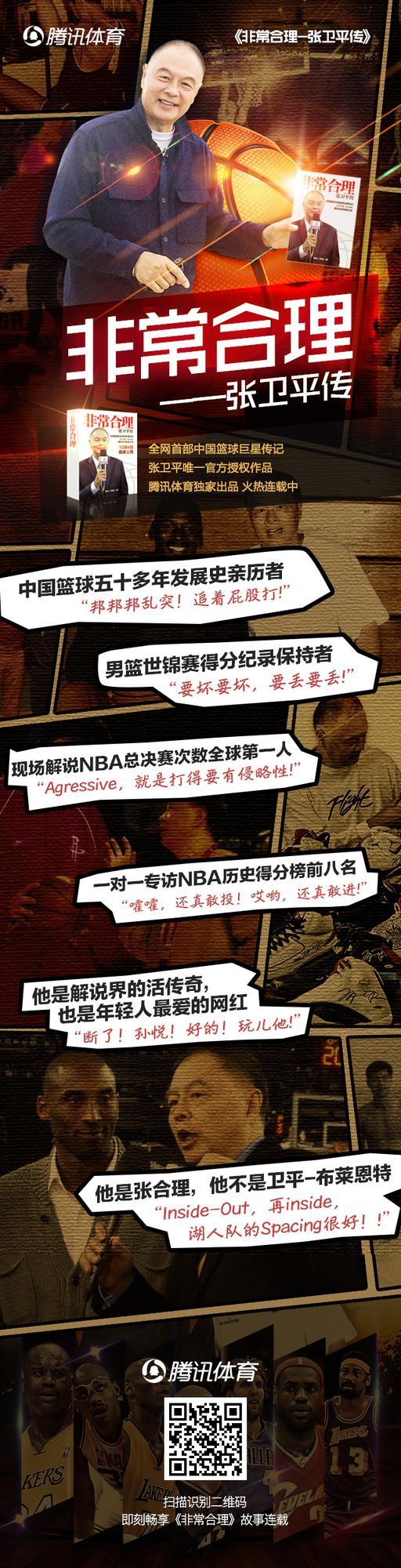 《非常合理-张卫平传》4日上线 腾讯体育独家出品