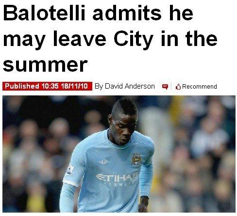巴洛特利公开称明夏转会 他的目的地只有米兰
