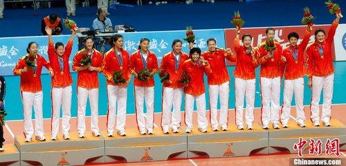 中国女子排球队夺得第十六届广州亚运会冠军