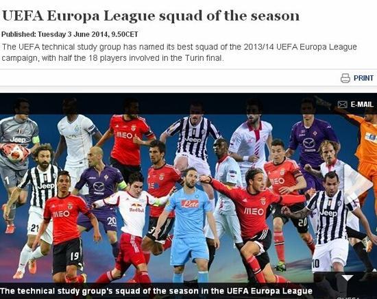 欧联杯赛季最佳18人:尤文4虎将 本菲卡5人