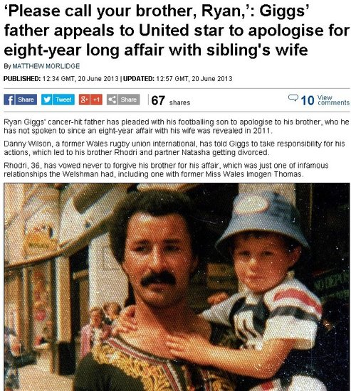 吉格斯父亲希望两个儿子能和好