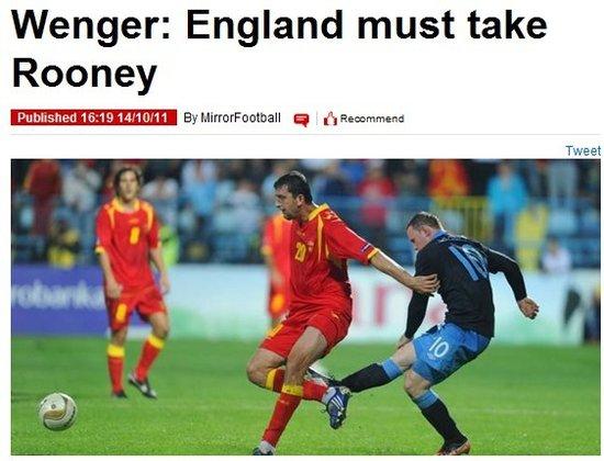 温格:英格兰必须带上鲁尼 阿森纳天才可入选