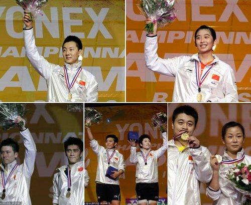 国羽世锦赛包揽五冠 平23年最佳创造空前纪录