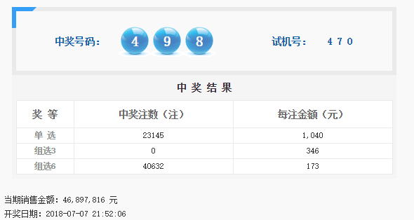 福彩3D2018181期开奖公告:开奖号码498