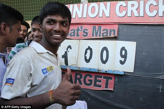 印度穷小子破百年记录 板球单局得分过千