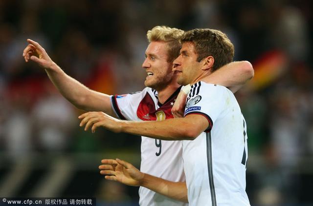 欧预赛-德国2-1苏格兰 穆勒双响炮罗伊斯伤退