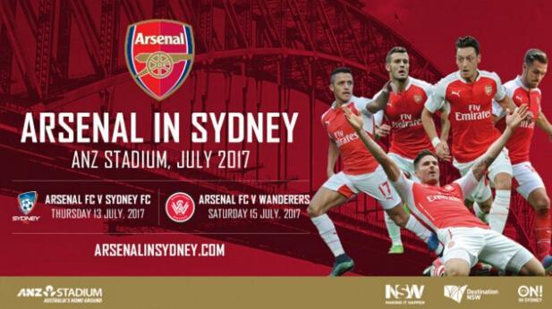 阿森纳2017年夏造访澳大利亚 挑战澳超2豪门