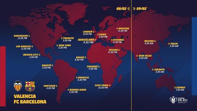 国王杯半决赛瓦伦西亚vs巴萨直播指引