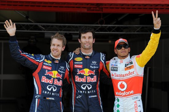 F1西班牙排位赛:韦伯杆位 维特尔小汉列二三