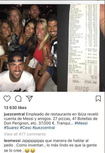 玩疯了!梅西度假吃披萨狂花3万欧 你会信吗?