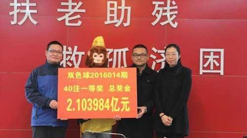 福彩2.1亿巨奖竟为4人所中 1人戴猴面具先兑