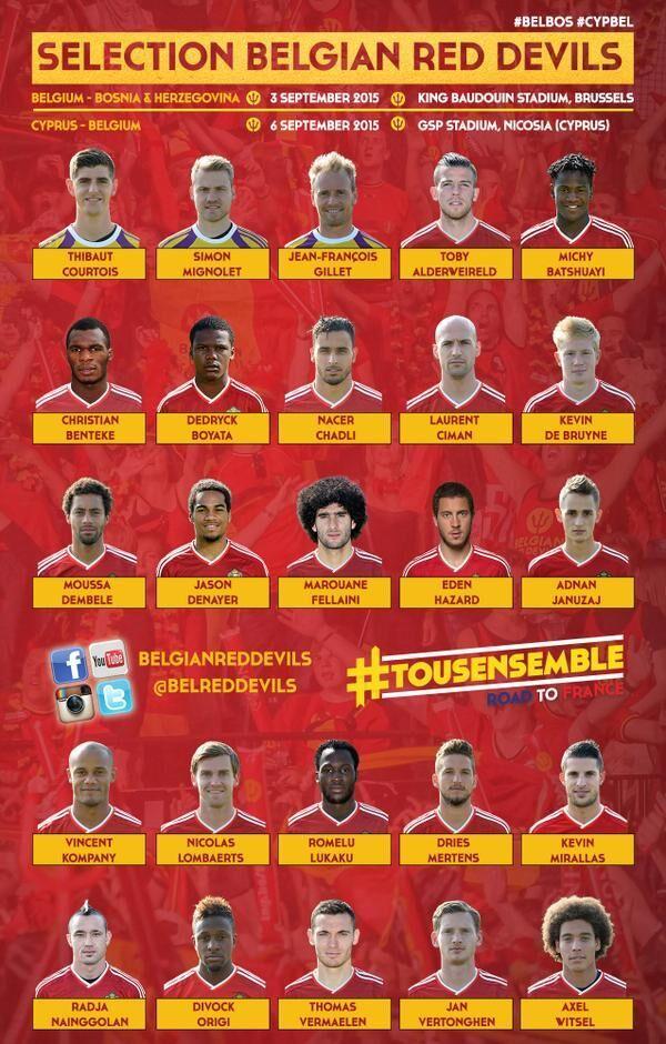 比利时25人大名单:阿扎尔丁丁领衔 英超15将