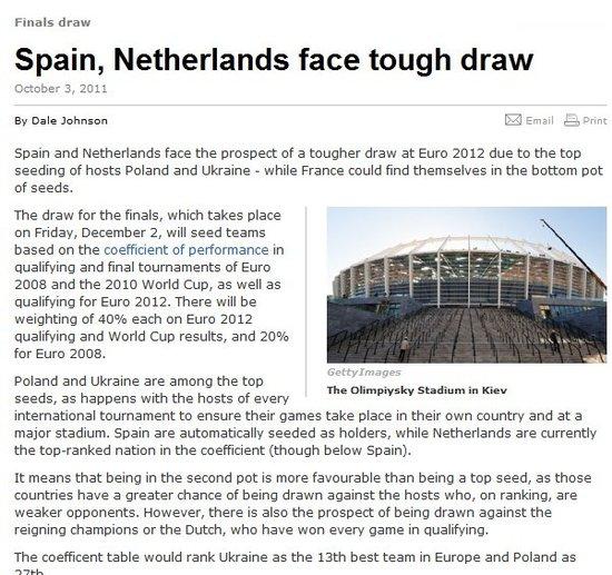 外媒预测欧锦赛抽签 四豪门恐陷终极死亡之组